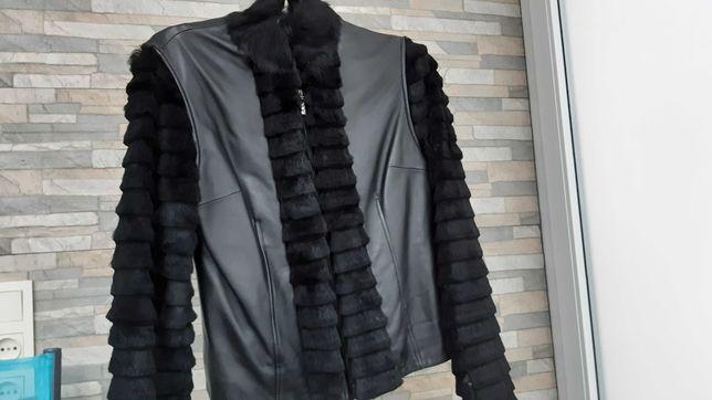Куртка, натуральная кожа, мех, на синтепоне