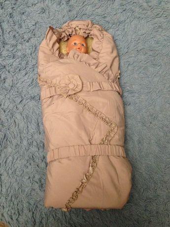 """Конверт-одеяло на выписку на овчине. Тм """"до речі"""". До 8 месяцев"""