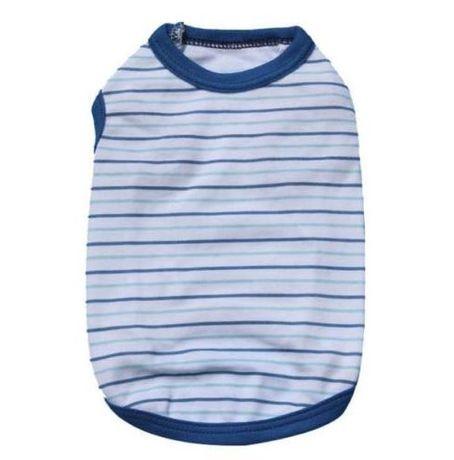 T-shirt gato ou cão às riscas azuis - Tamanho S