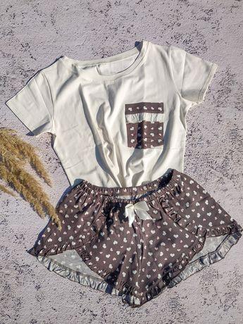 Женская хлопковая пижама футболка +шорты S, M, L