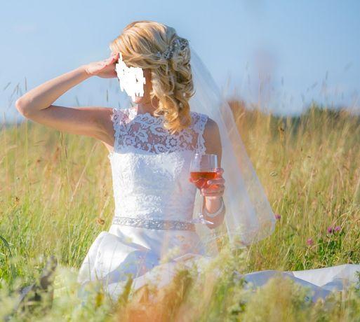 Piękna suknia ślubna Sposa Isabel rozm. 36 + welon i pokrowiec