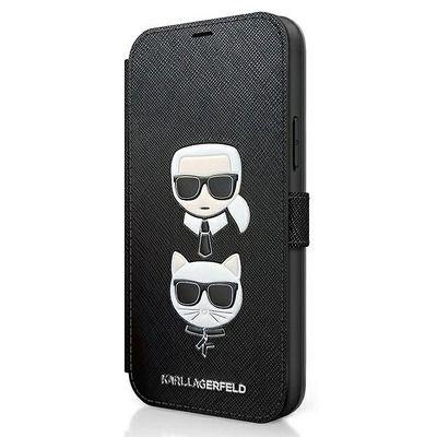 Capa Livro Horizontal Karl Lagerfeld Saffiano Karl & Choupette Iphone 12 Mini - Preto
