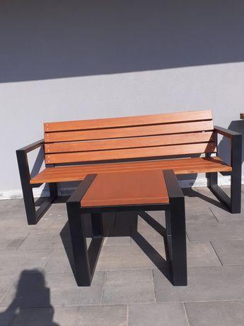Nowoczesna ławka z oparciem + STOLIK