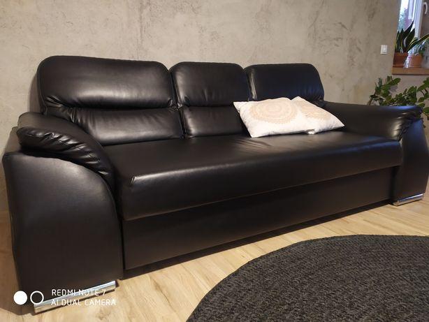 Sofa czarna ecoskora rozkładana
