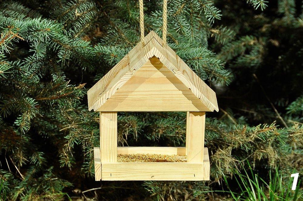Karmnik drewniany dla ptaków wykonany z drewna iglastego - 1 Biała Podlaska - image 1