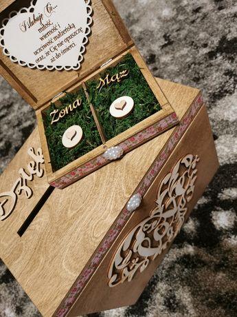 Pudełko na prezenty weselne oraz pudełko na obrączki.