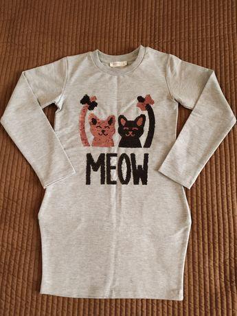 Туника-платье, свитшот, свитер, кофта, реглан 8 лет (кошки, пайетки).