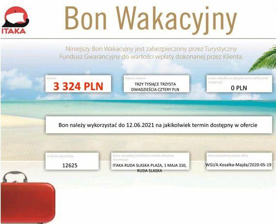 ITAKA bon wakacyjny na kwotę 3324 PLN - Ruda Śląska Plaza
