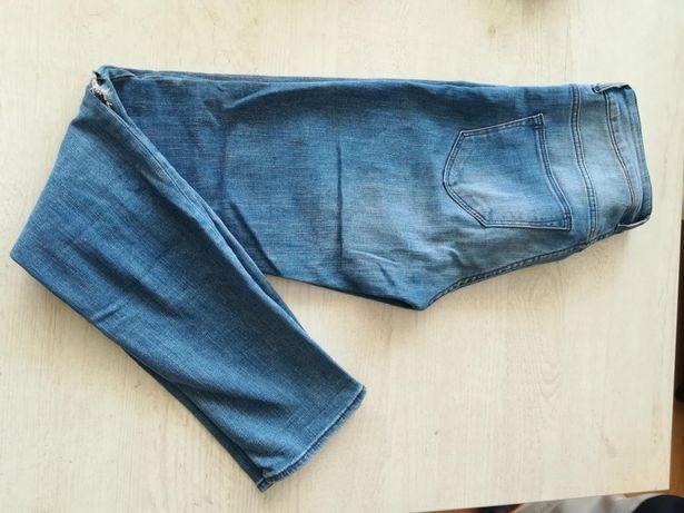 Spodnie jeans przetarcia dziury wysoki stan 34,36