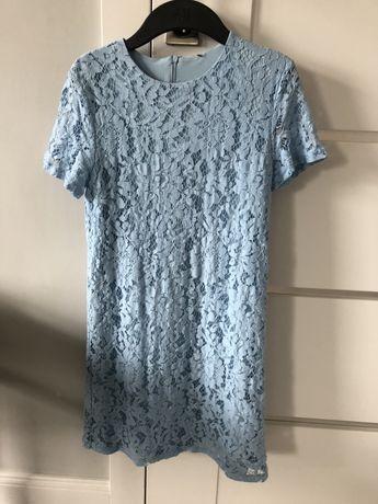 Sukienka koronkowa azurowa blekitna niebieska