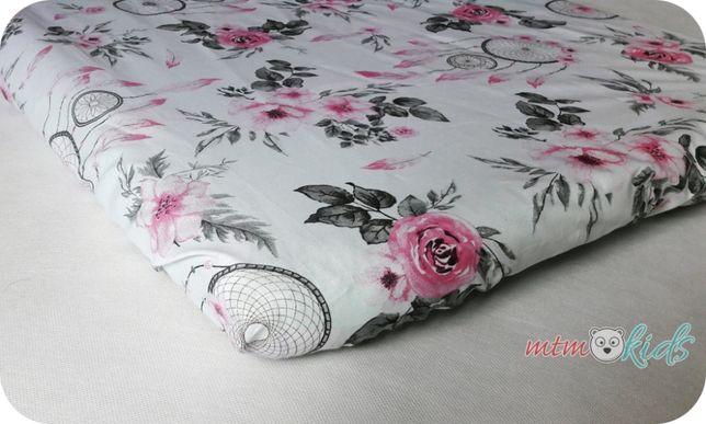 Prześcieradło do łóżeczka 60x120 bawełniane kwiaty łapacz do pościeli