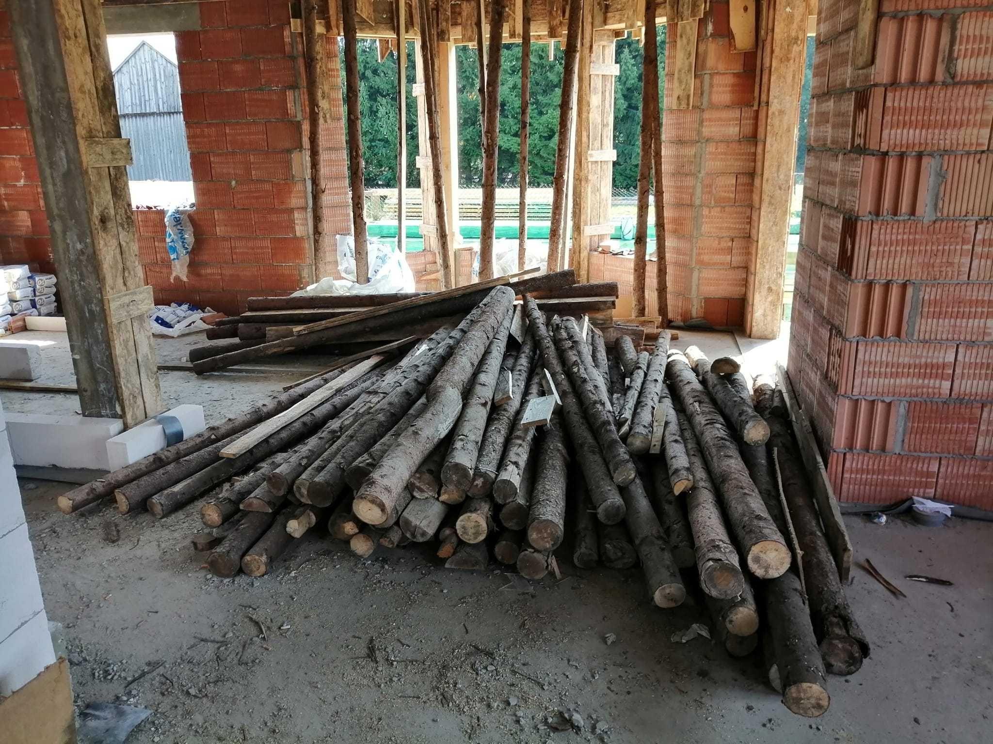 Stemple budowlane drewniane stropowe żerdzie słupki 2,75-3 m 120 szt