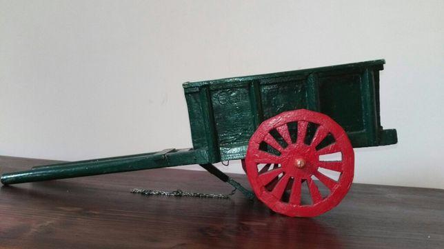 Wozek drewniany woz vintage zabawka drewniana