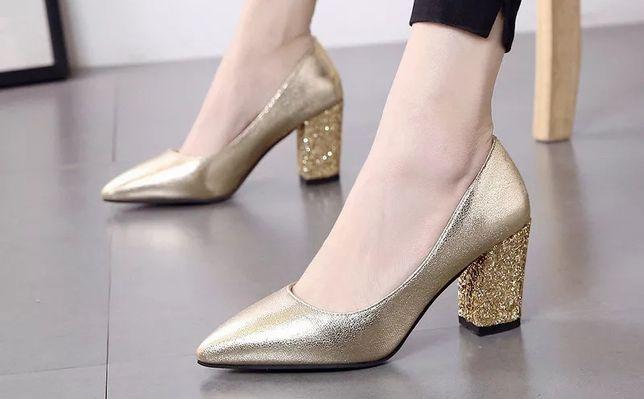 Złote buty na obcasie BROKAT