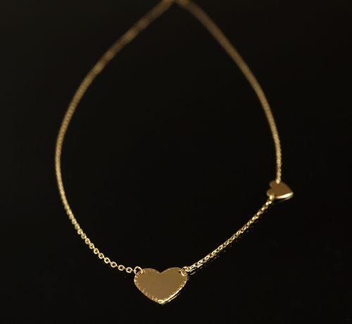 Złoto 585-złoty łańcuszek damski Celebrytka z Serduszkami