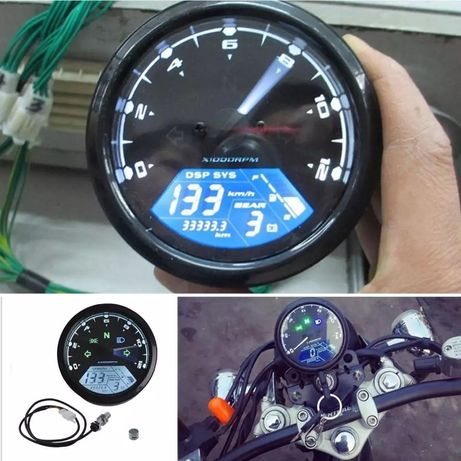 Velocímetro odómetro tacómetro multifunções digital moto cafe racer