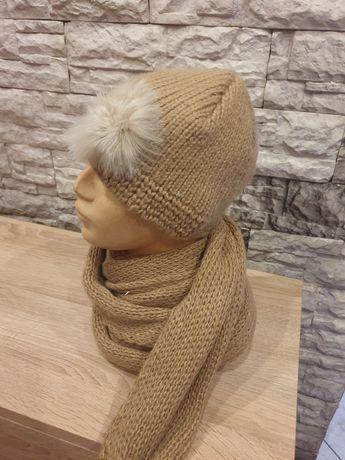 Komplet damski czapka szalik elegancki wzor zimowa bez