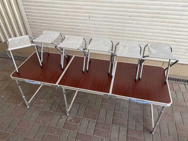 Набор в чемодане стулья-6 и стол 180см три части для отдыха на природе