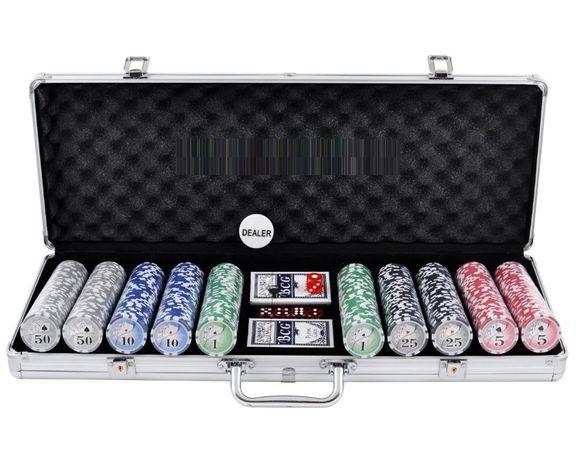 Покерный набор в алюминиевом кейсе на 500 фишек с номиналом