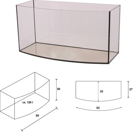 Akwarium 80x35x50 owalne 130 litrów