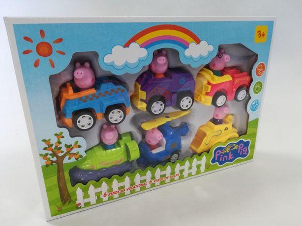 Nowy zestaw 6 sztuk pojazdy na napęd +figurki z bajki Świnka Peppa