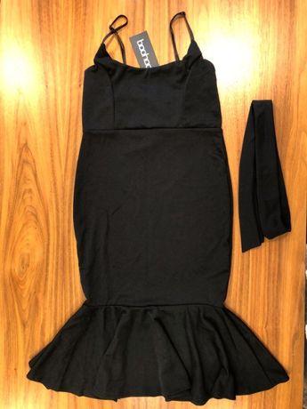 Czarna sukienka midi z falbaną - boohoo (nowa, z metką)