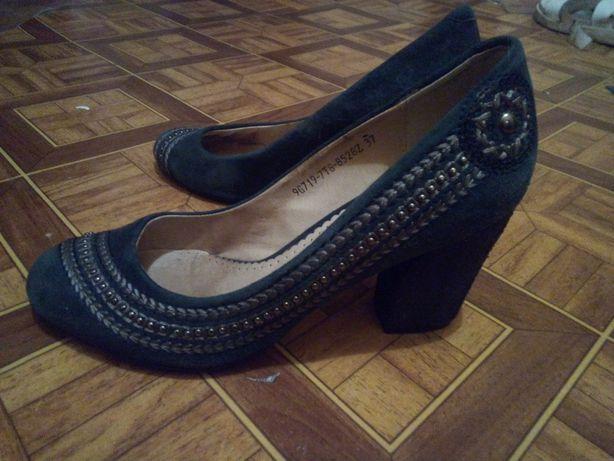 Туфли натуральный замш с вышивкой