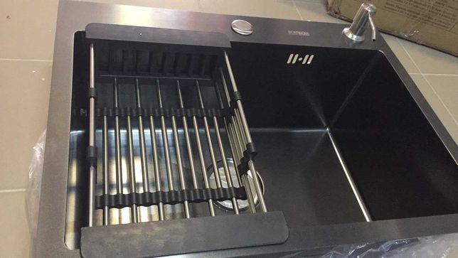 Акція! Кухонна мийка Platinum HANDMADE 5843 (чорна)