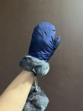 Варежки рукавицы перчатки  подросток натуральный мех