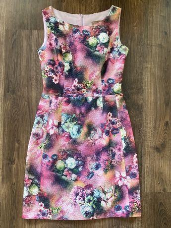 Sukienka w kwiaty na wesele, przyjęcie r. 34 XS
