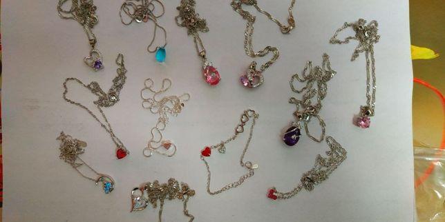 Женская цепочка браслет сережки серебро проба 925