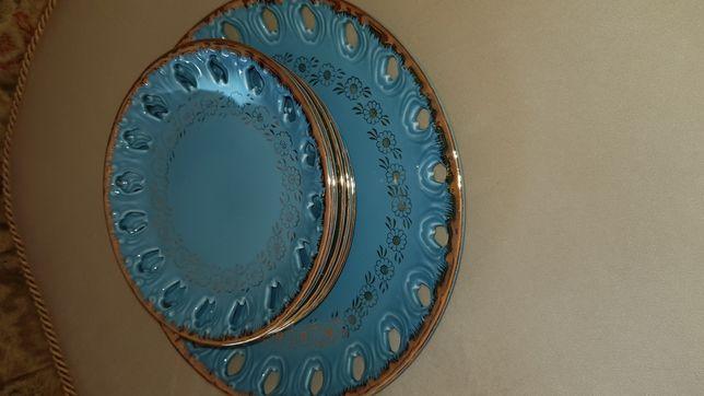 Stare Japońskie sygnowane talerzyki deserowe błękitne wzór złocony
