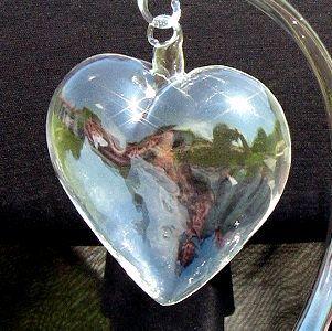 Wielkie serce szklane ze szkła twardego bombka szklana gruba ciężka