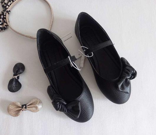 Черные балетки с бантом на девочку