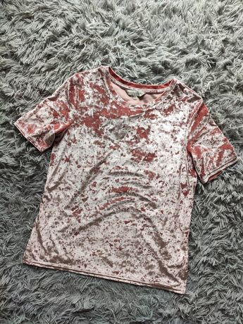 F&F nowa z metką koszula bluzka welurowa różowa klasyczna prosta 38/M