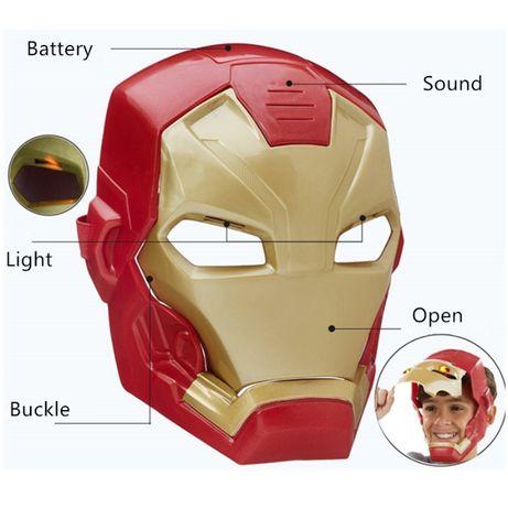 Маска Железный человек,Тони Старк,Мстители,Марвел,свет,звук,батарейки.