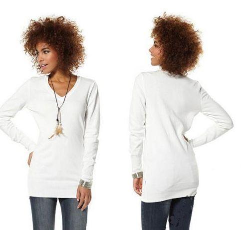 Biały dłuższy sweter 44/46