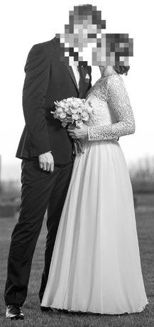 Suknia ślubna w kształcie litery A z długim rękawem