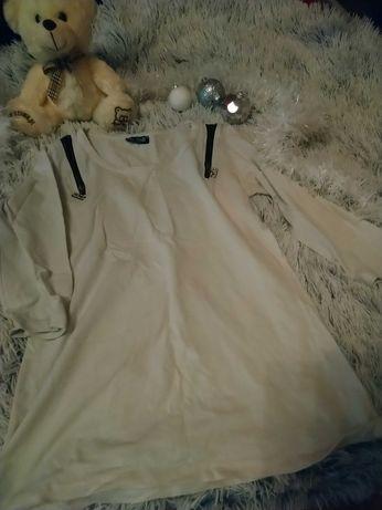 Biała bluzka z czarnymi wstawkami i cyrkoniami L / XL