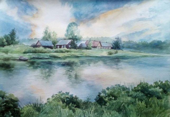 Картина Акварель - Село над рекой - художник Оксана Шашкова