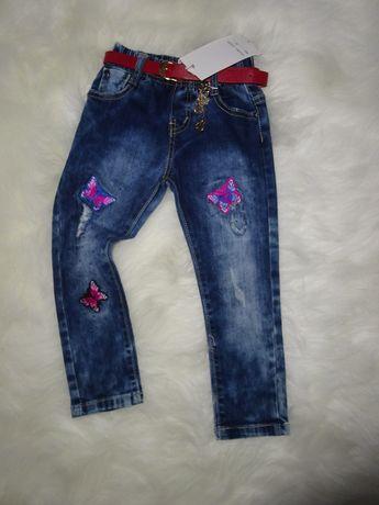 Spodnie dziewczęce jeans 98,128 r