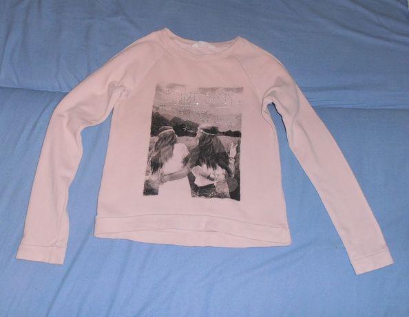 Różowa bluza, aplikacja, H&M, 158/164
