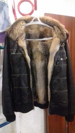 Продам мужскую зимнюю кожаную куртку с натуральным воочим мехом!