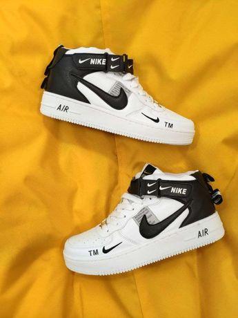 Мужские кроссовки Nike Air Force (белые) высокие D72 демисезонные