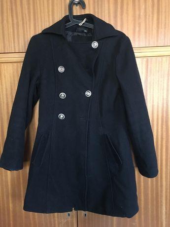 płaszcz asos czarny jesienno zimowy srebrne guziki