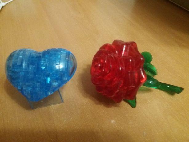 3 D Пазлы сердце, роза