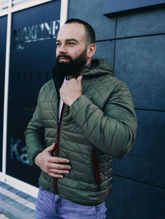 Мужская куртка с капюшоном теплая с утеплителем осенняя хаки капишоном Киев - изображение 1