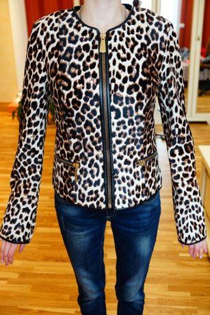 Женская куртка, новая, принт леопард, 100% кожа и мех, размер 38