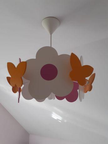 Lampa sufitowa dziewczęca w kwiatki i motyle