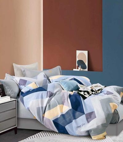 Двуспальное постельное белье + размер евро, сатин, хлопок 100%